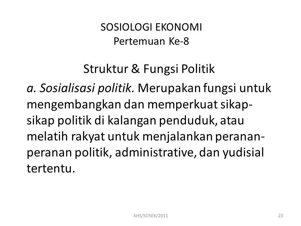 SOSIOLOGI EKONOMI Pertemuan Ke-8 Struktur & Fungsi Politik a.