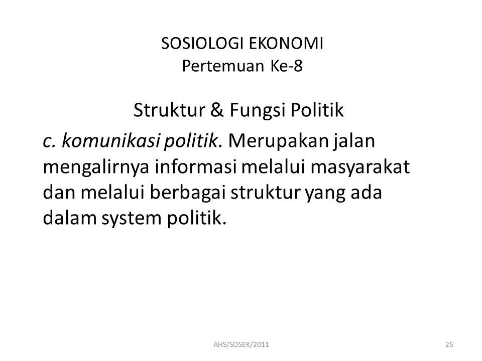 SOSIOLOGI EKONOMI Pertemuan Ke-8 Struktur & Fungsi Politik c.