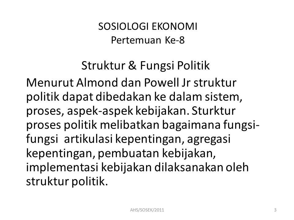 SOSIOLOGI EKONOMI Pertemuan Ke-8 Struktur & Fungsi Politik Menurut Almond dan Powell Jr struktur politik dapat dibedakan ke dalam sistem, proses, aspek-aspek kebijakan.