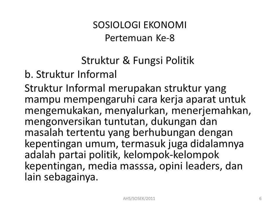 SOSIOLOGI EKONOMI Pertemuan Ke-8 Struktur & Fungsi Politik b.