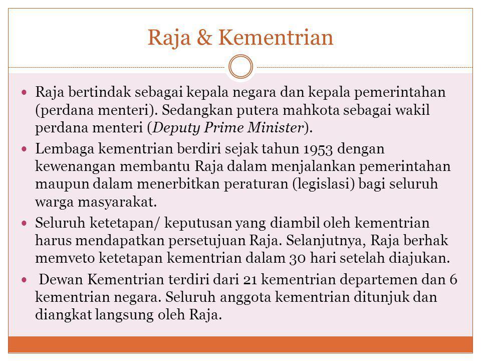 Raja & Kementrian Raja bertindak sebagai kepala negara dan kepala pemerintahan (perdana menteri).