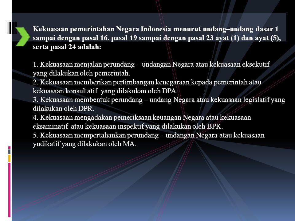 Kekuasaan pemerintahan Negara Indonesia menurut undang–undang dasar 1 sampai dengan pasal 16.