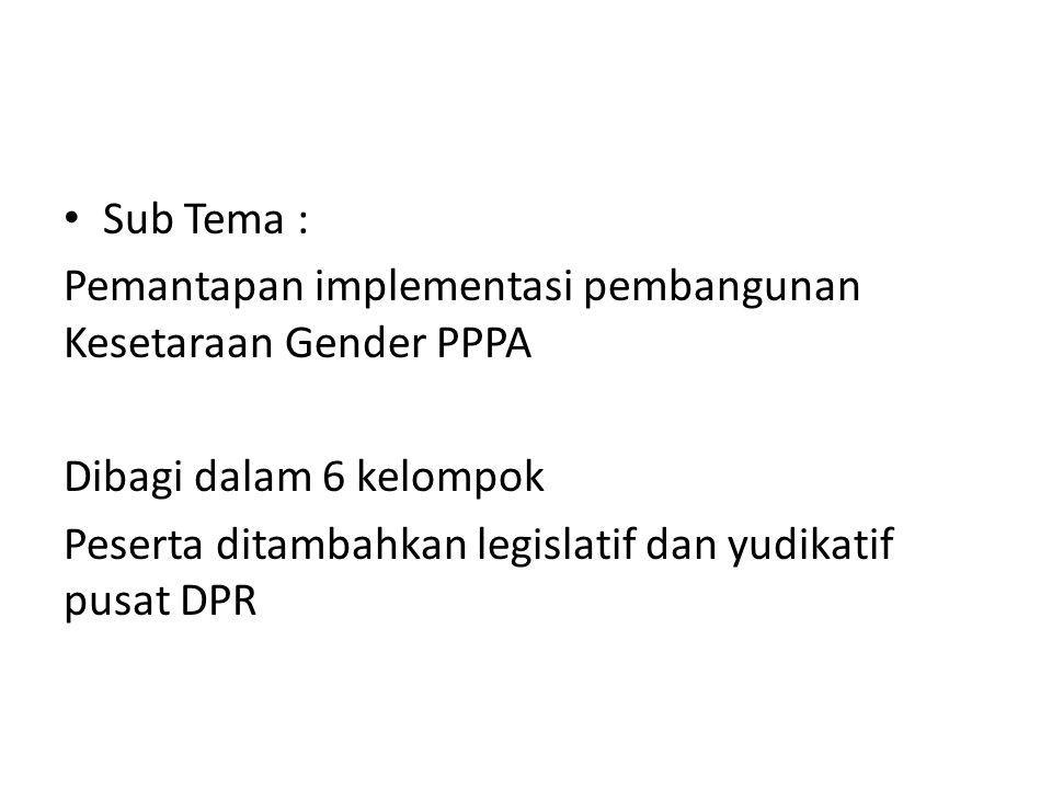 Sub Tema : Pemantapan implementasi pembangunan Kesetaraan Gender PPPA Dibagi dalam 6 kelompok Peserta ditambahkan legislatif dan yudikatif pusat DPR