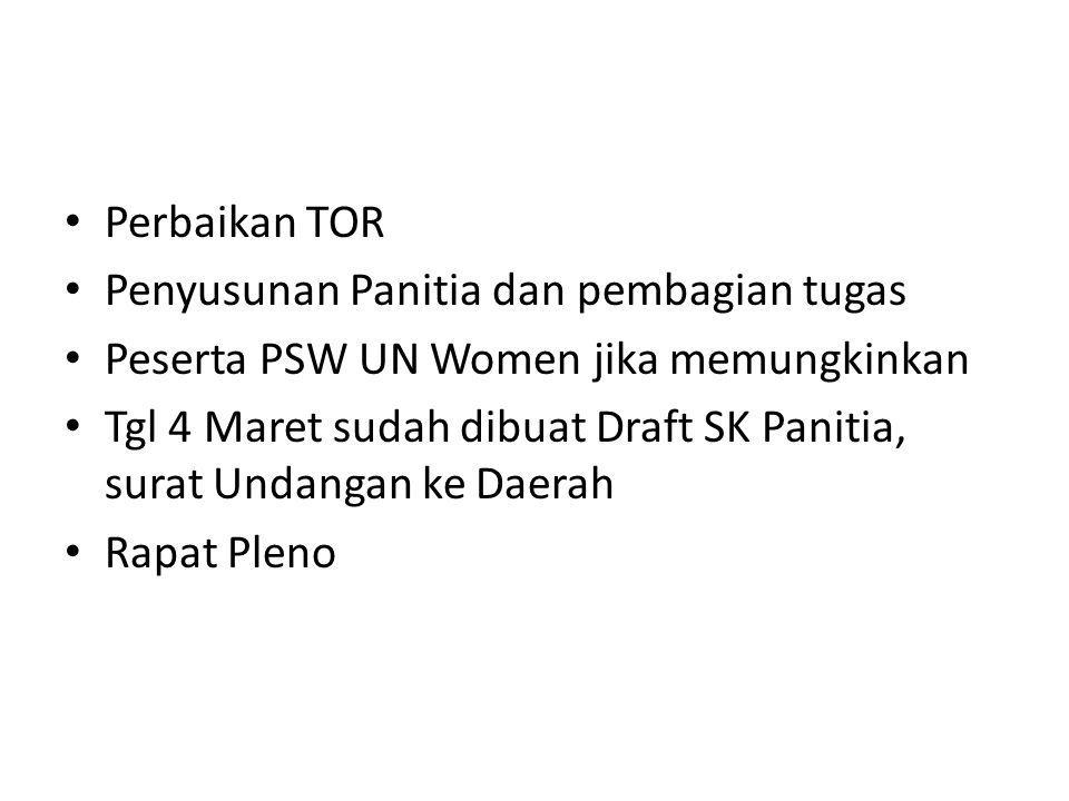 Perbaikan TOR Penyusunan Panitia dan pembagian tugas Peserta PSW UN Women jika memungkinkan Tgl 4 Maret sudah dibuat Draft SK Panitia, surat Undangan