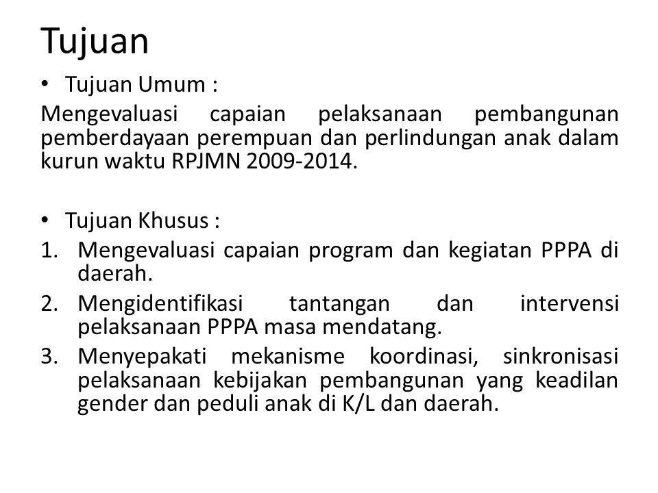 Tujuan Tujuan Umum : Mengevaluasi capaian pelaksanaan pembangunan pemberdayaan perempuan dan perlindungan anak dalam kurun waktu RPJMN 2009-2014. Tuju