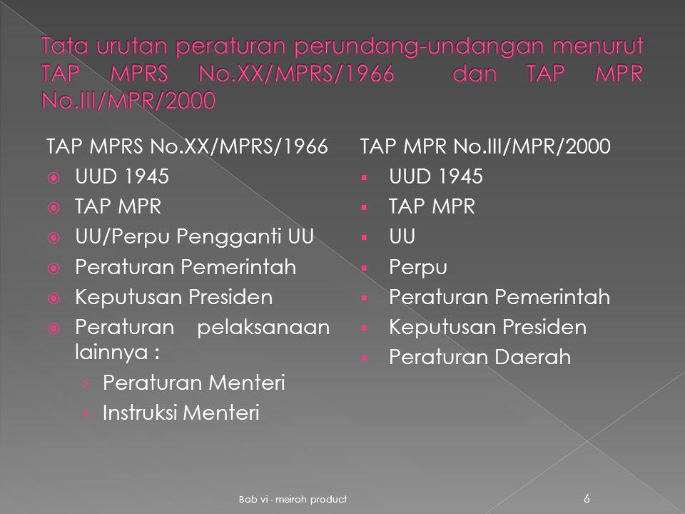 TAP MPRS No.XX/MPRS/1966  UUD 1945  TAP MPR  UU/Perpu Pengganti UU  Peraturan Pemerintah  Keputusan Presiden  Peraturan pelaksanaan lainnya : ›