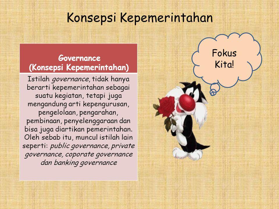 Konsepsi Kepemerintahan Governance (Konsepsi Kepemerintahan) Istilah governance, tidak hanya berarti kepemerintahan sebagai suatu kegiatan, tetapi jug