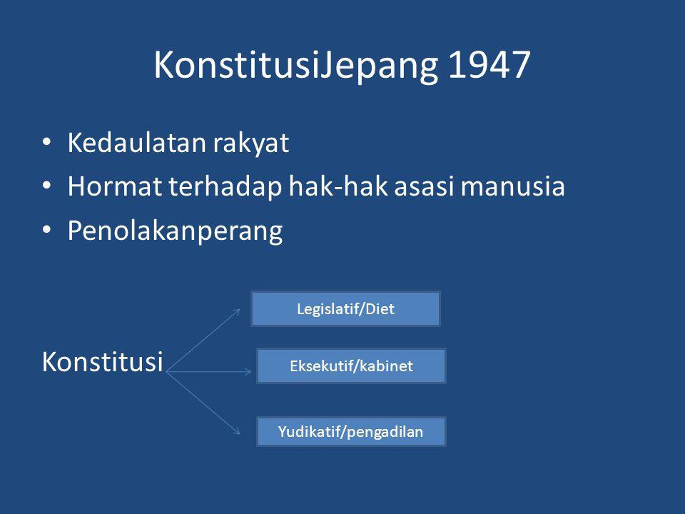 KonstitusiJepang 1947 Kedaulatan rakyat Hormat terhadap hak-hak asasi manusia Penolakanperang Konstitusi Legislatif/Diet Eksekutif/kabinet Yudikatif/pengadilan