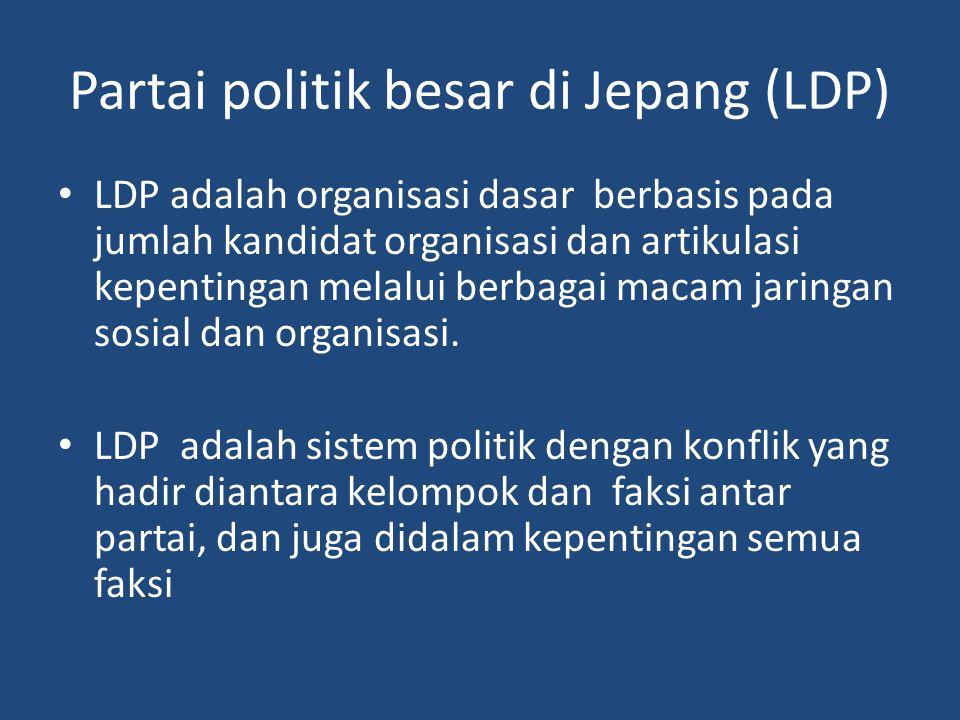 Partai politik besar di Jepang (LDP) LDP adalah organisasi dasar berbasis pada jumlah kandidat organisasi dan artikulasi kepentingan melalui berbagai macam jaringan sosial dan organisasi.