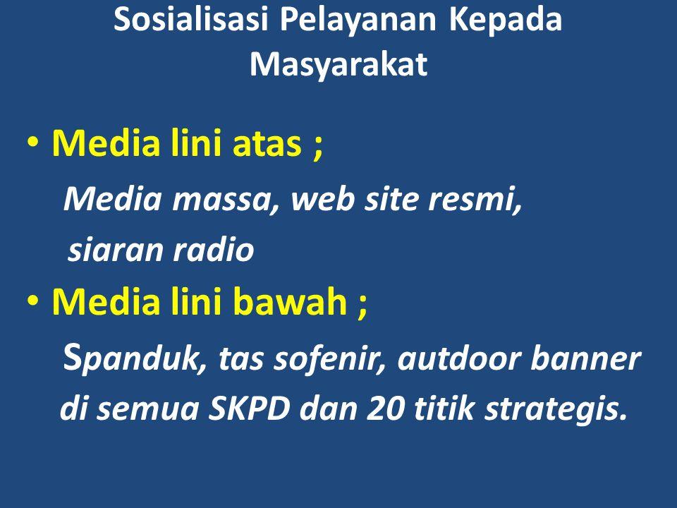 Sosialisasi Pelayanan Kepada Masyarakat Media lini atas ; Media massa, web site resmi, siaran radio Media lini bawah ; S panduk, tas sofenir, autdoor