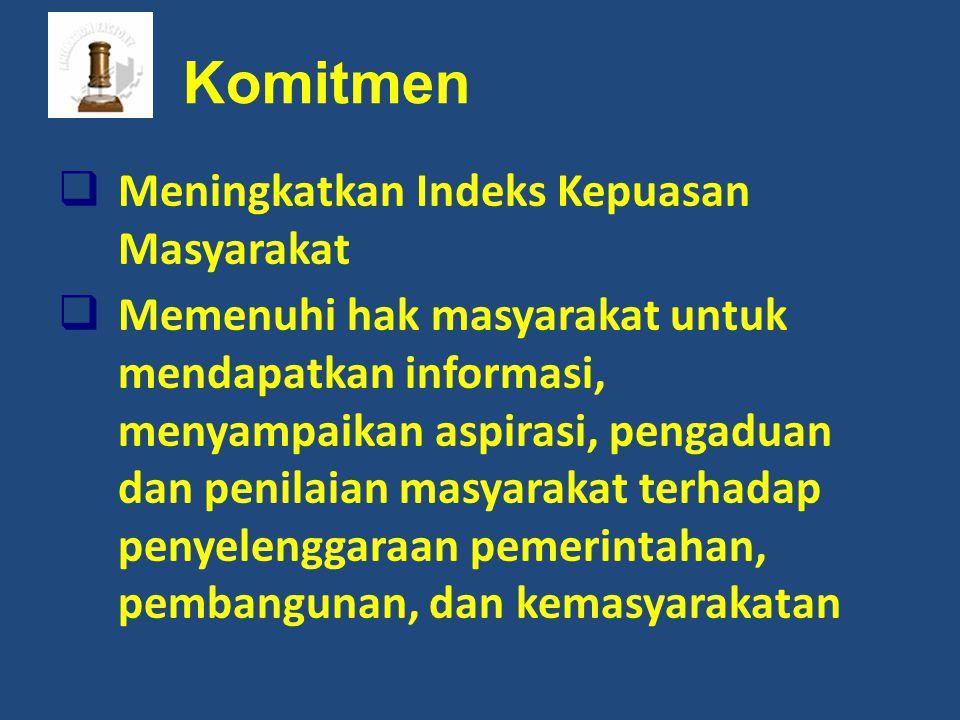 Komitmen  Meningkatkan Indeks Kepuasan Masyarakat  Memenuhi hak masyarakat untuk mendapatkan informasi, menyampaikan aspirasi, pengaduan dan penilai