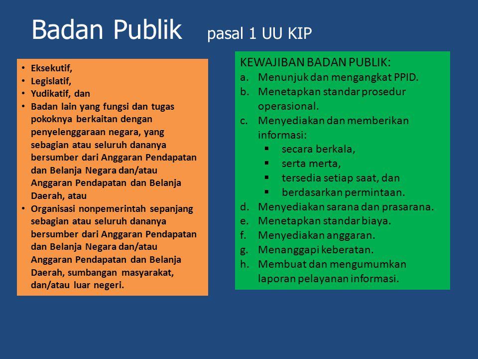 Badan Publik pasal 1 UU KIP Eksekutif, Legislatif, Yudikatif, dan Badan lain yang fungsi dan tugas pokoknya berkaitan dengan penyelenggaraan negara, y