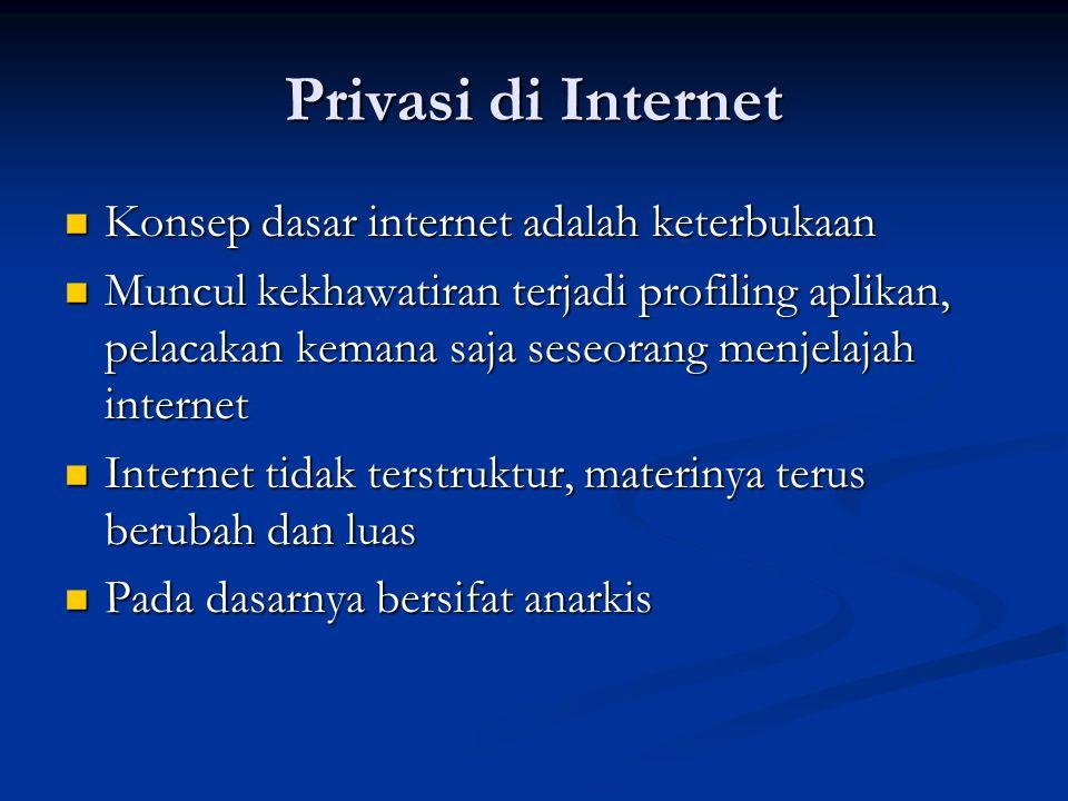 Privasi di Internet Konsep dasar internet adalah keterbukaan Konsep dasar internet adalah keterbukaan Muncul kekhawatiran terjadi profiling aplikan, p