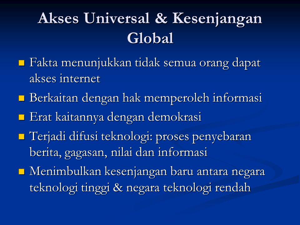 Akses Universal & Kesenjangan Global Fakta menunjukkan tidak semua orang dapat akses internet Fakta menunjukkan tidak semua orang dapat akses internet