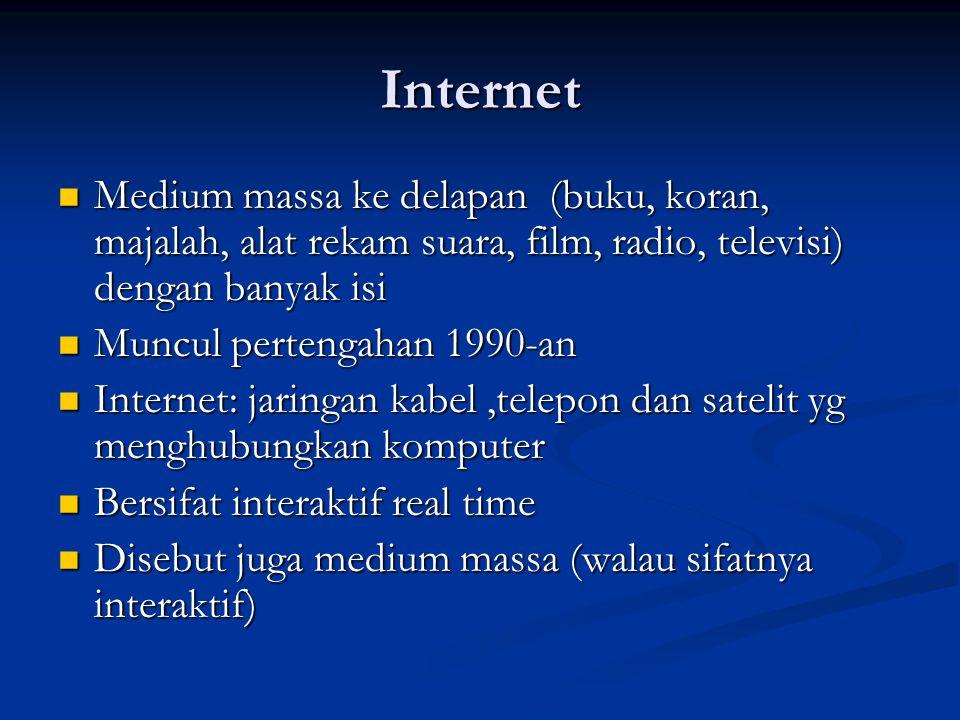 Internet Medium massa ke delapan (buku, koran, majalah, alat rekam suara, film, radio, televisi) dengan banyak isi Medium massa ke delapan (buku, kora