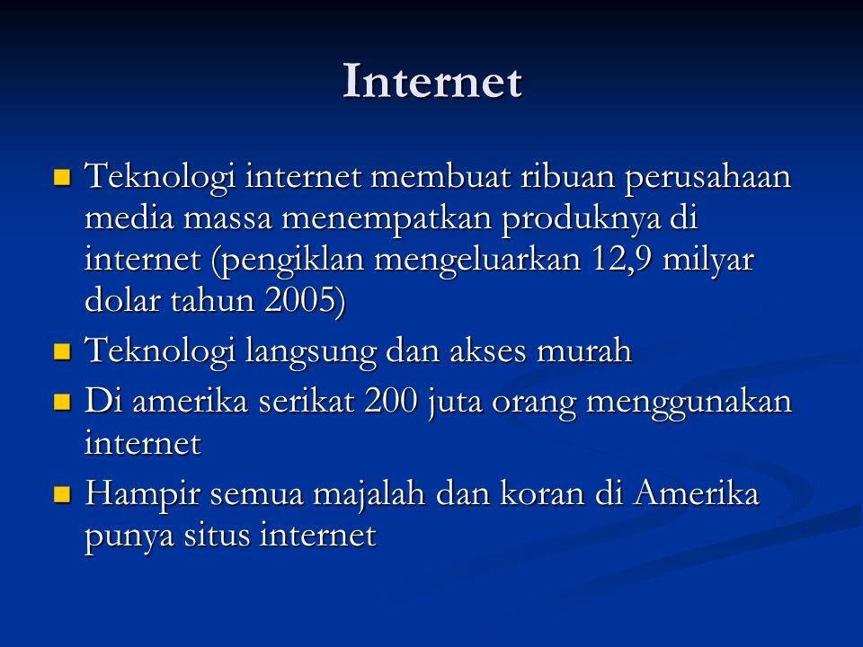 Internet Teknologi internet membuat ribuan perusahaan media massa menempatkan produknya di internet (pengiklan mengeluarkan 12,9 milyar dolar tahun 20