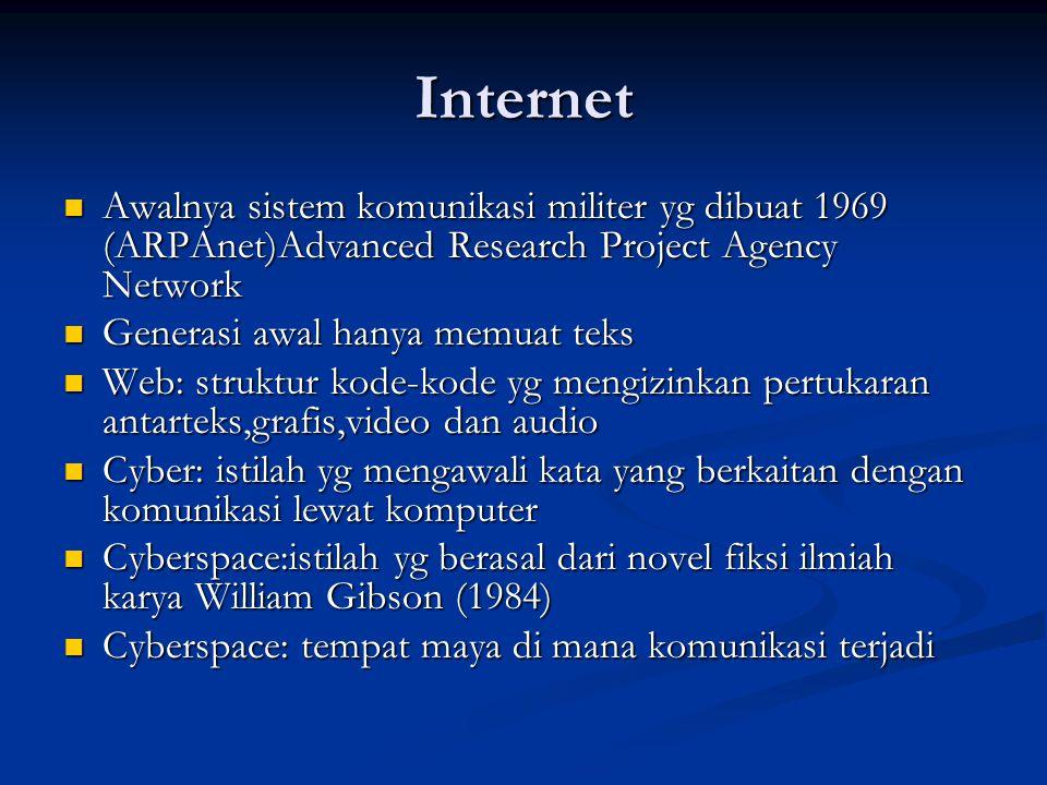 Internet Awalnya sistem komunikasi militer yg dibuat 1969 (ARPAnet)Advanced Research Project Agency Network Awalnya sistem komunikasi militer yg dibua