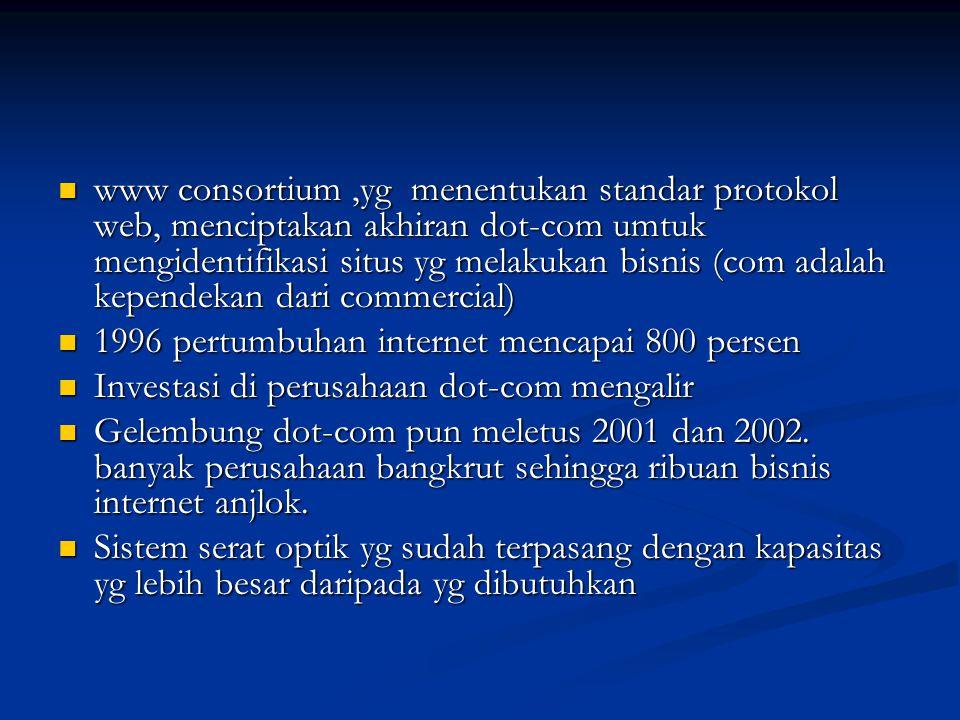 www consortium,yg menentukan standar protokol web, menciptakan akhiran dot-com umtuk mengidentifikasi situs yg melakukan bisnis (com adalah kependekan