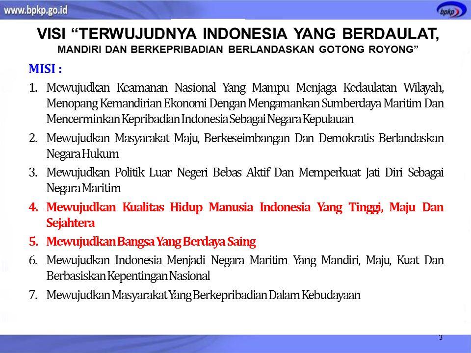 MISI : 1.Mewujudkan Keamanan Nasional Yang Mampu Menjaga Kedaulatan Wilayah, Menopang Kemandirian Ekonomi Dengan Mengamankan Sumberdaya Maritim Dan Mencerminkan Kepribadian Indonesia Sebagai Negara Kepulauan 2.Mewujudkan Masyarakat Maju, Berkeseimbangan Dan Demokratis Berlandaskan Negara Hukum 3.Mewujudkan Politik Luar Negeri Bebas Aktif Dan Memperkuat Jati Diri Sebagai Negara Maritim 4.Mewujudkan Kualitas Hidup Manusia Indonesia Yang Tinggi, Maju Dan Sejahtera 5.Mewujudkan Bangsa Yang Berdaya Saing 6.Mewujudkan Indonesia Menjadi Negara Maritim Yang Mandiri, Maju, Kuat Dan Berbasiskan Kepentingan Nasional 7.Mewujudkan Masyarakat Yang Berkepribadian Dalam Kebudayaan 3 VISI TERWUJUDNYA INDONESIA YANG BERDAULAT, MANDIRI DAN BERKEPRIBADIAN BERLANDASKAN GOTONG ROYONG