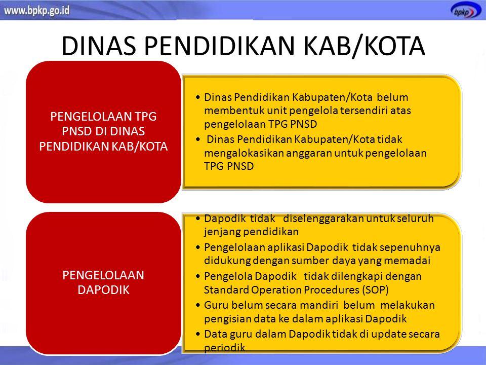 DINAS PENDIDIKAN KAB/KOTA Dinas Pendidikan Kabupaten/Kota belum membentuk unit pengelola tersendiri atas pengelolaan TPG PNSD Dinas Pendidikan Kabupat