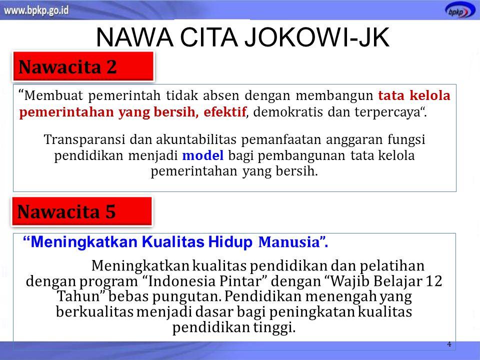 NAWA CITA JOKOWI-JK Membuat pemerintah tidak absen dengan membangun tata kelola pemerintahan yang bersih, efektif, demokratis dan terpercaya .