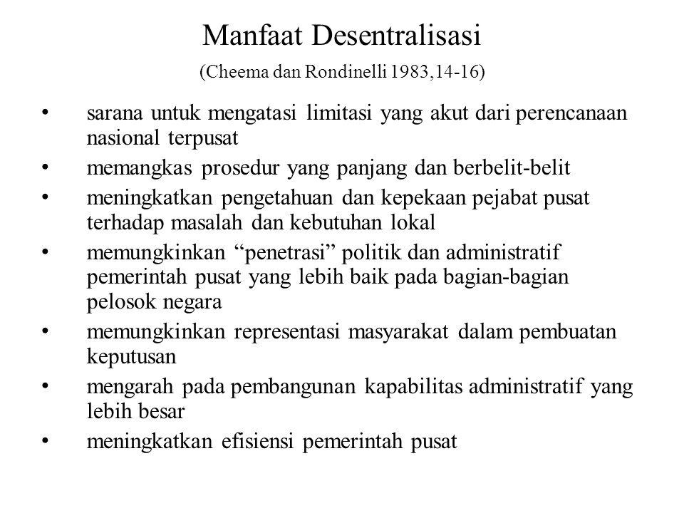 Manfaat Desentralisasi (Cheema dan Rondinelli 1983,14-16) sarana untuk mengatasi limitasi yang akut dari perencanaan nasional terpusat memangkas prose