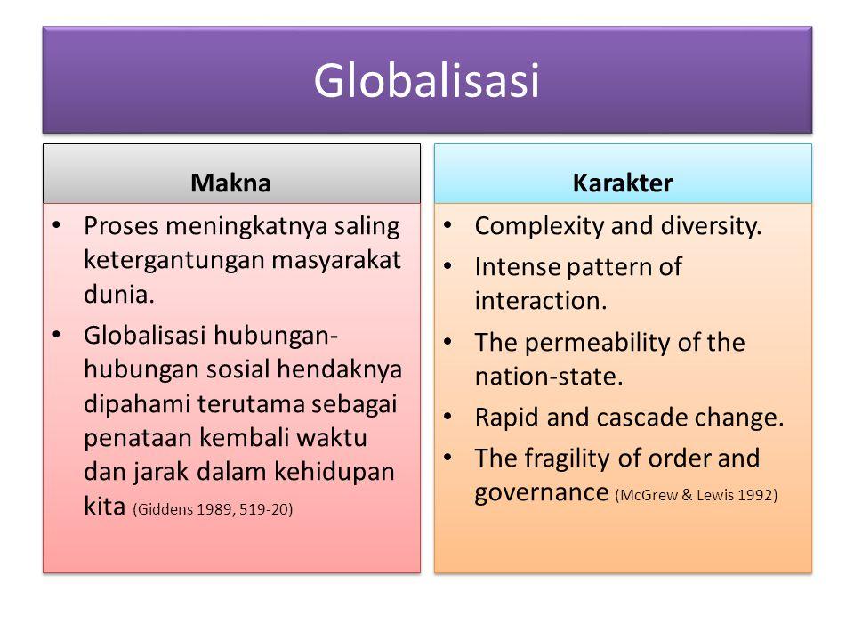 Globalisasi Makna Proses meningkatnya saling ketergantungan masyarakat dunia. Globalisasi hubungan- hubungan sosial hendaknya dipahami terutama sebaga