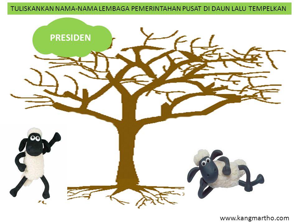 www.kangmartho.com PRESIDEN TULISKANKAN NAMA-NAMA LEMBAGA PEMERINTAHAN PUSAT DI DAUN LALU TEMPELKAN