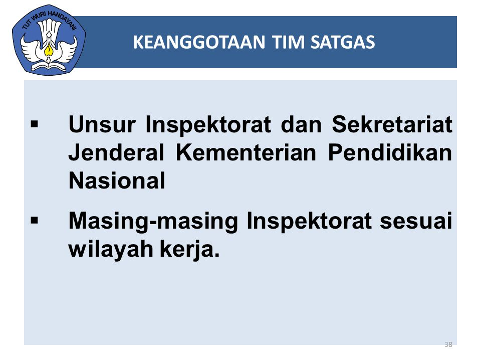  Unsur Inspektorat dan Sekretariat Jenderal Kementerian Pendidikan Nasional  Masing-masing Inspektorat sesuai wilayah kerja. 38 KEANGGOTAAN TIM SATG