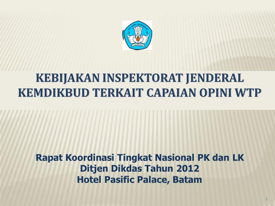 KEBIJAKAN INSPEKTORAT JENDERAL KEMDIKBUD TERKAIT CAPAIAN OPINI WTP Rapat Koordinasi Tingkat Nasional PK dan LK Ditjen Dikdas Tahun 2012 Hotel Pasific