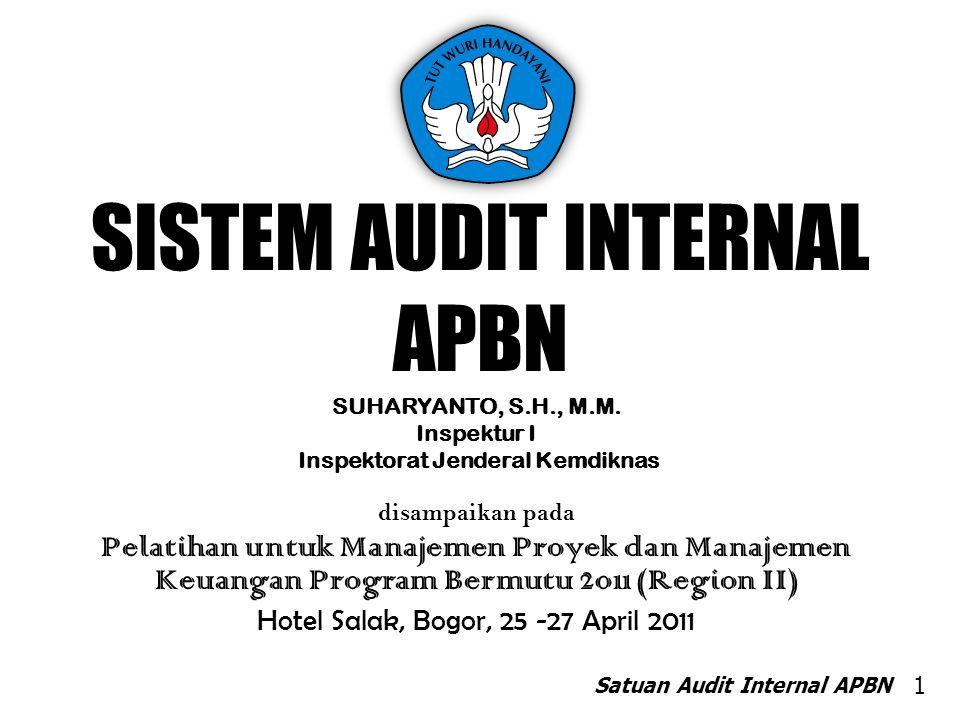 SISTEM AUDIT INTERNAL APBN SUHARYANTO, S.H., M.M. Inspektur I Inspektorat Jenderal Kemdiknas disampaikan pada Pelatihan untuk Manajemen Proyek dan Man