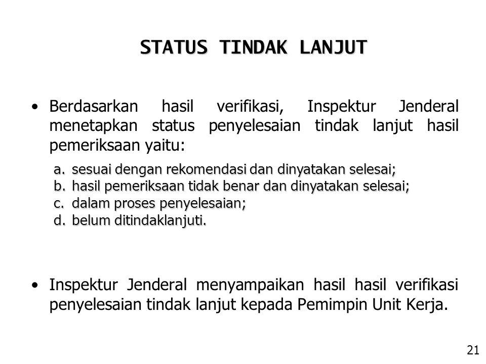 Berdasarkan hasil verifikasi, Inspektur Jenderal menetapkan status penyelesaian tindak lanjut hasil pemeriksaan yaitu: Inspektur Jenderal menyampaikan