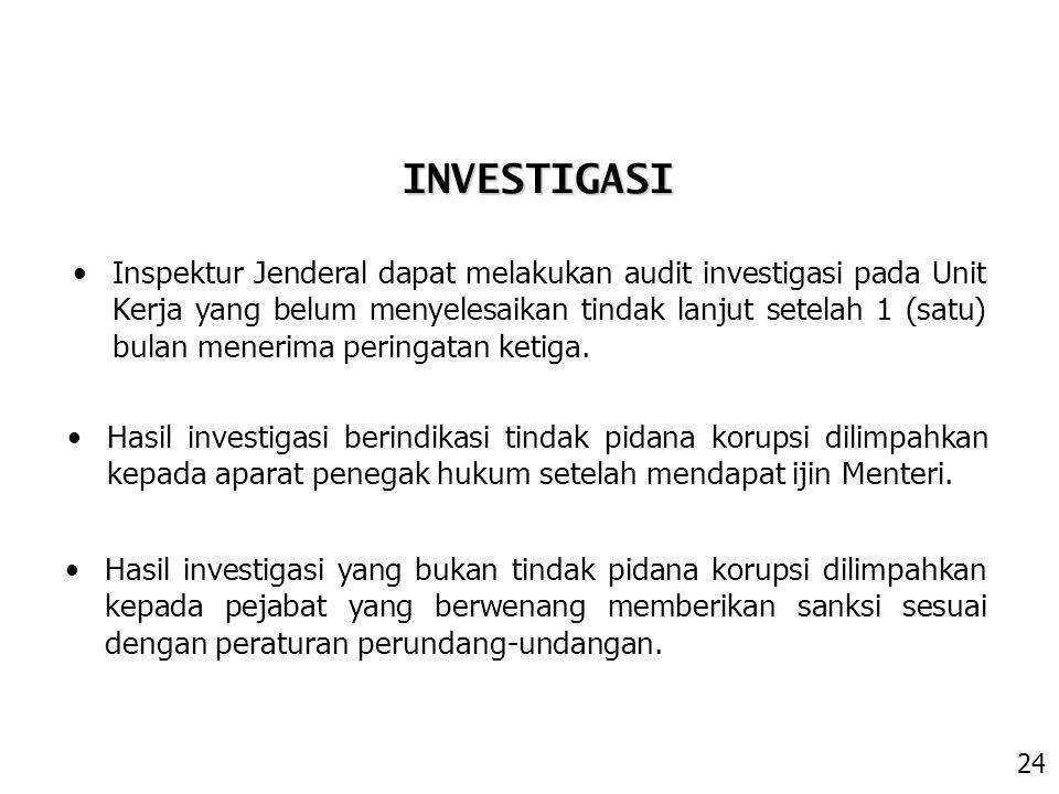 Hasil investigasi berindikasi tindak pidana korupsi dilimpahkan kepada aparat penegak hukum setelah mendapat ijin Menteri. INVESTIGASI Inspektur Jende