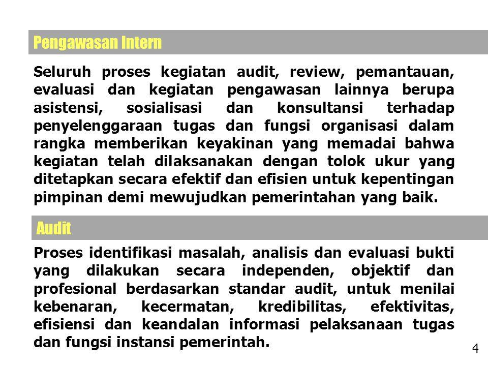Seluruh proses kegiatan audit, review, pemantauan, evaluasi dan kegiatan pengawasan lainnya berupa asistensi, sosialisasi dan konsultansi terhadap pen