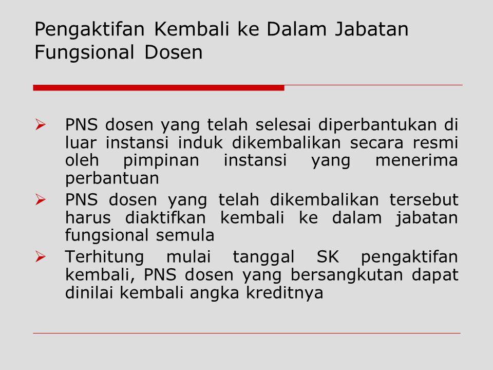  PNS dosen yang telah selesai diperbantukan di luar instansi induk dikembalikan secara resmi oleh pimpinan instansi yang menerima perbantuan  PNS do