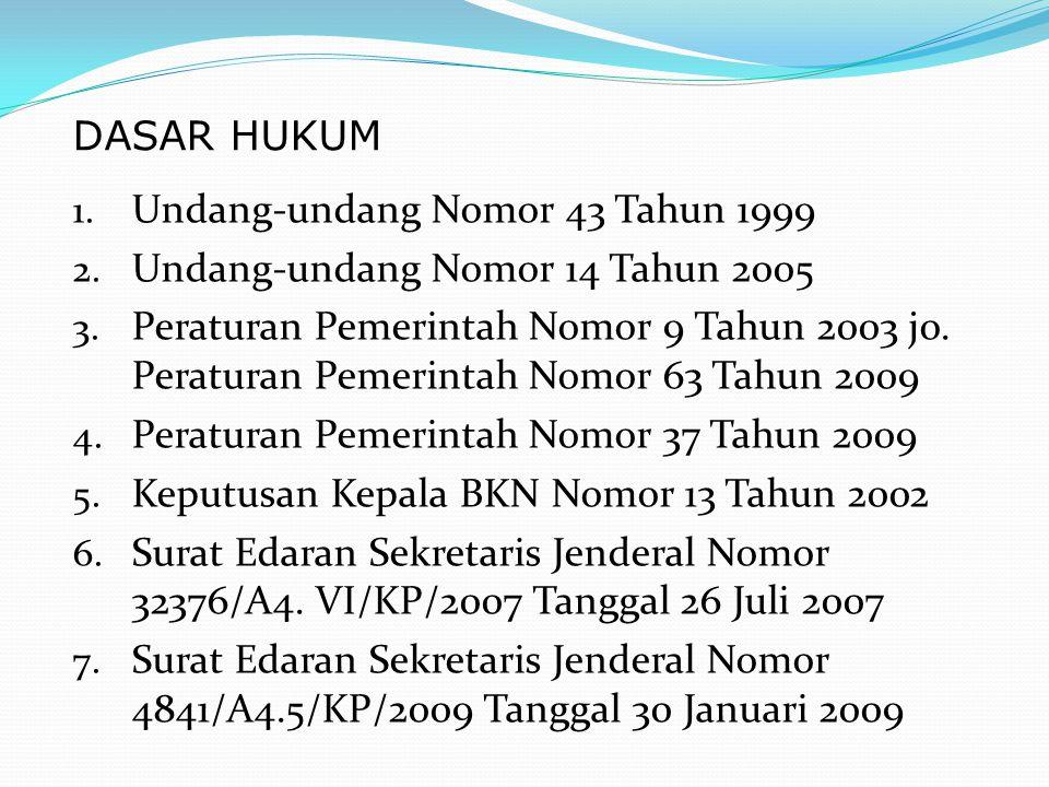 1. Undang-undang Nomor 43 Tahun 1999 2. Undang-undang Nomor 14 Tahun 2005 3. Peraturan Pemerintah Nomor 9 Tahun 2003 jo. Peraturan Pemerintah Nomor 63