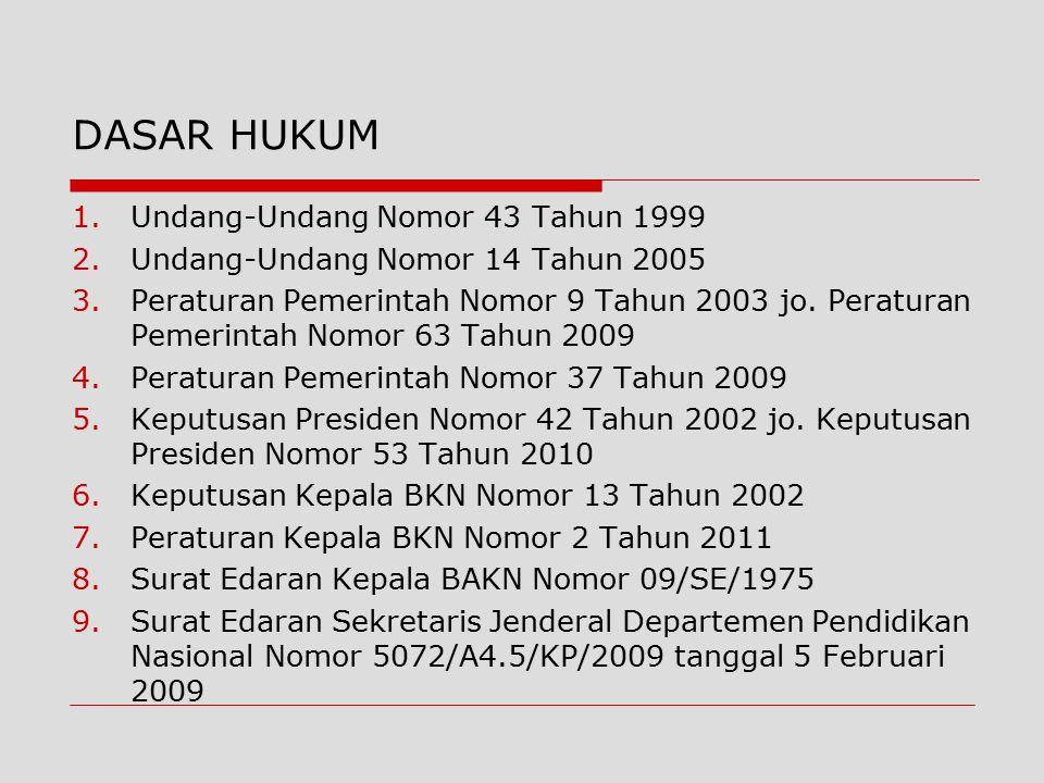 1.Undang-Undang Nomor 43 Tahun 1999 2.Undang-Undang Nomor 14 Tahun 2005 3.Peraturan Pemerintah Nomor 9 Tahun 2003 jo. Peraturan Pemerintah Nomor 63 Ta