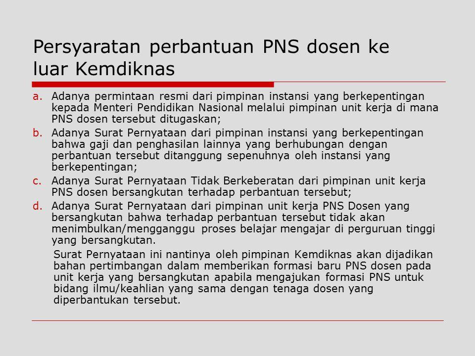 a.Adanya permintaan resmi dari pimpinan instansi yang berkepentingan kepada Menteri Pendidikan Nasional melalui pimpinan unit kerja di mana PNS dosen