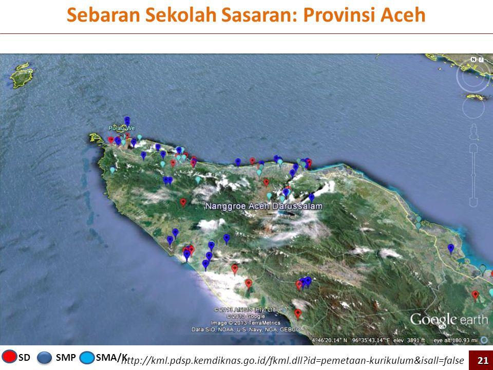 Sebaran Sekolah Sasaran: Provinsi Aceh http://kml.pdsp.kemdiknas.go.id/fkml.dll?id=pemetaan-kurikulum&isall=false 21 SMPSMA/KSD