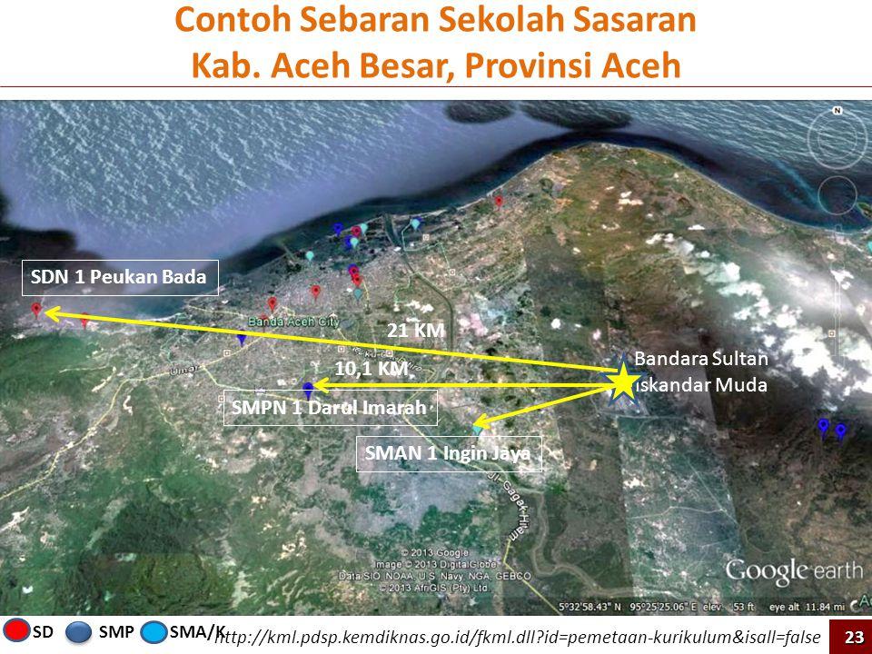 http://kml.pdsp.kemdiknas.go.id/fkml.dll?id=pemetaan-kurikulum&isall=false SDN 1 Peukan Bada 21 KM Bandara Sultan Iskandar Muda 10,1 KM SMPN 1 Darul I