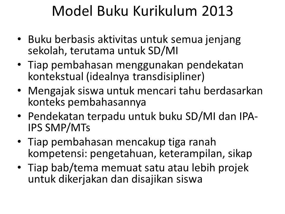 Model Buku Kurikulum 2013 Buku berbasis aktivitas untuk semua jenjang sekolah, terutama untuk SD/MI Tiap pembahasan menggunakan pendekatan kontekstual