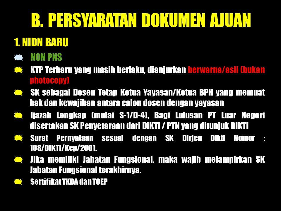B.PERSYARATAN DOKUMEN AJUAN 1.