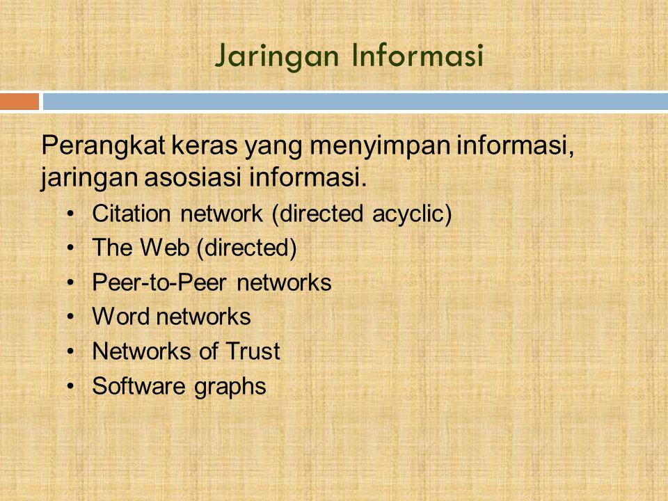 Jaringan Informasi Perangkat keras yang menyimpan informasi, jaringan asosiasi informasi.