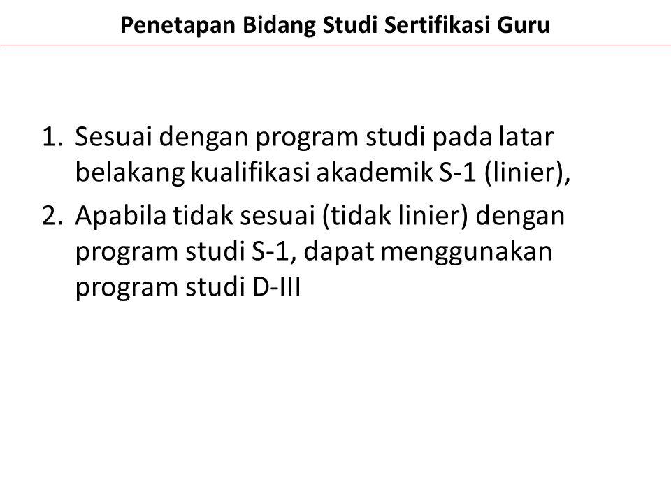 Penetapan Bidang Studi Sertifikasi Guru 1.Sesuai dengan program studi pada latar belakang kualifikasi akademik S-1 (linier), 2.Apabila tidak sesuai (t