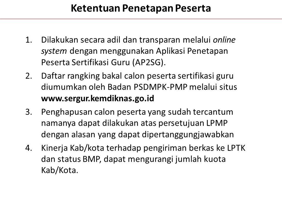 Ketentuan Penetapan Peserta 1.Dilakukan secara adil dan transparan melalui online system dengan menggunakan Aplikasi Penetapan Peserta Sertifikasi Gur
