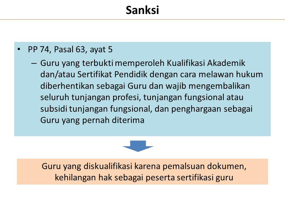 Sanksi PP 74, Pasal 63, ayat 5 – Guru yang terbukti memperoleh Kualifikasi Akademik dan/atau Sertifikat Pendidik dengan cara melawan hukum diberhentik