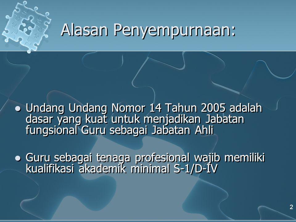 Alasan Penyempurnaan: Undang Undang Nomor 14 Tahun 2005 adalah dasar yang kuat untuk menjadikan Jabatan fungsional Guru sebagai Jabatan Ahli Guru seba