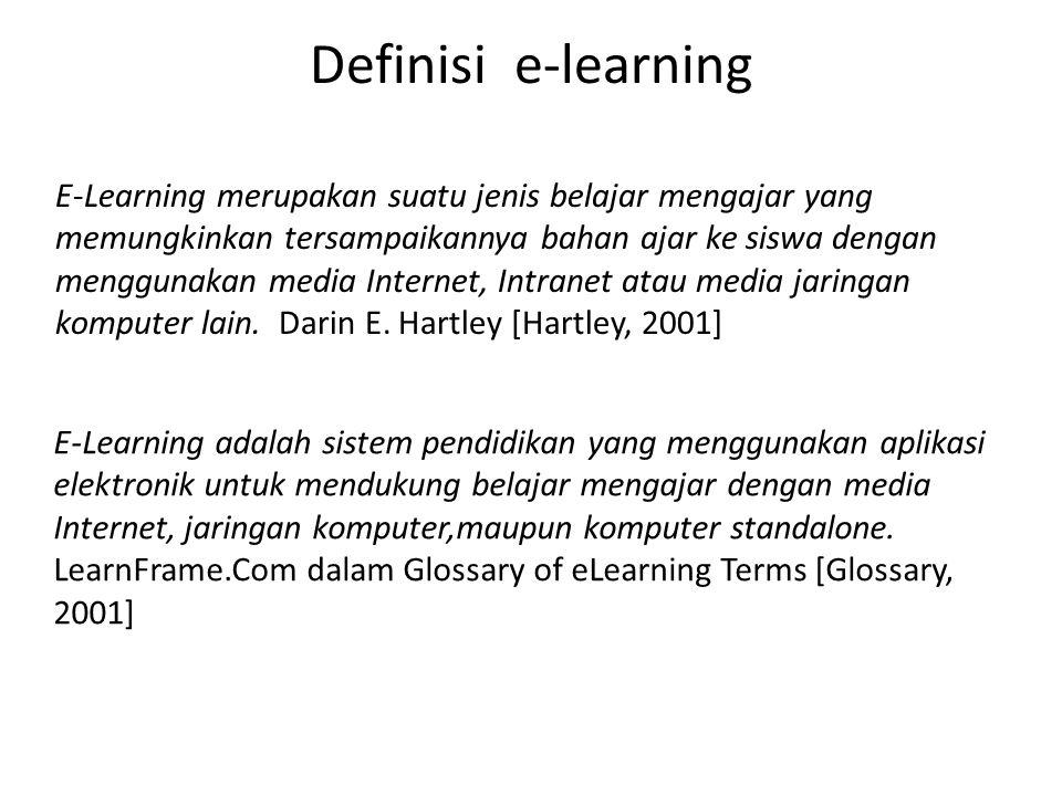 Definisi e-learning E-Learning merupakan suatu jenis belajar mengajar yang memungkinkan tersampaikannya bahan ajar ke siswa dengan menggunakan media I