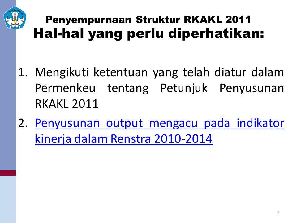 Penyempurnaan Struktur RKAKL 2011 Hal-hal yang perlu diperhatikan: 1.Mengikuti ketentuan yang telah diatur dalam Permenkeu tentang Petunjuk Penyusunan RKAKL 2011 2.Penyusunan output mengacu pada indikator kinerja dalam Renstra 2010-2014Penyusunan output mengacu pada indikator kinerja dalam Renstra 2010-2014 3