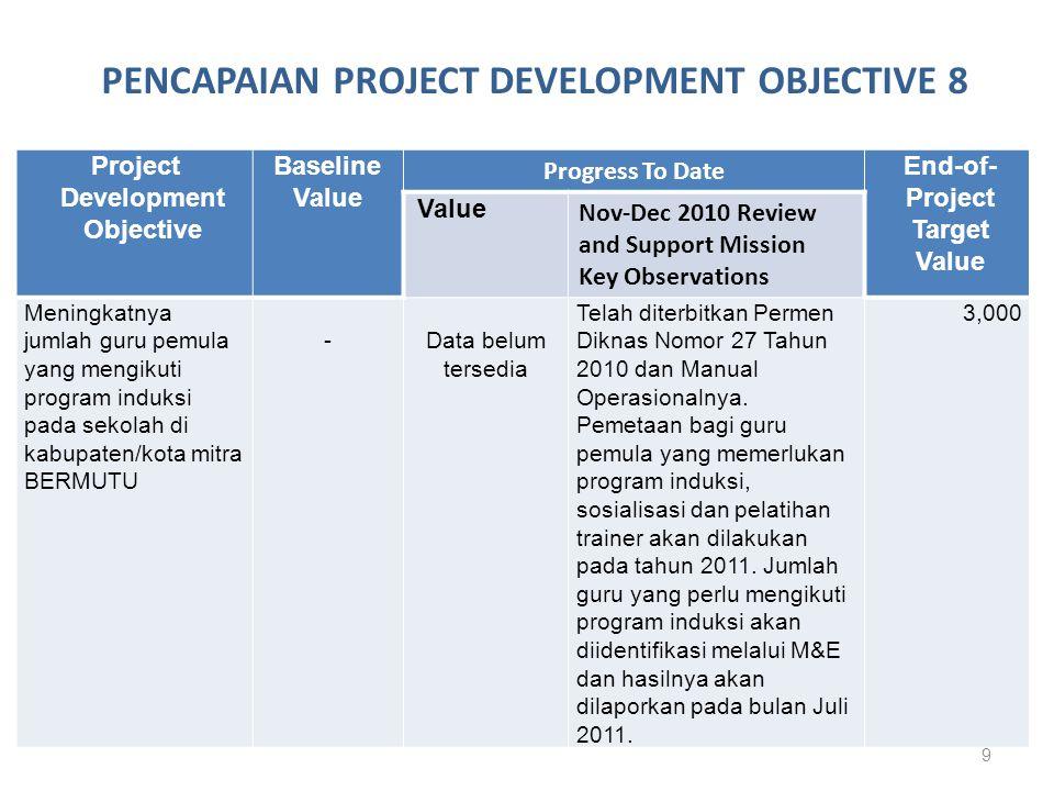 Baseline value :…… guru (05 Maret 2007) End-of-Project Target Value: 700,000 guru (12 Maret 2013) Progress to date: ……guru (24 Juni 2011)
